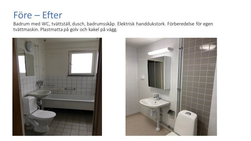 Foto på toalett, före och efter renovering