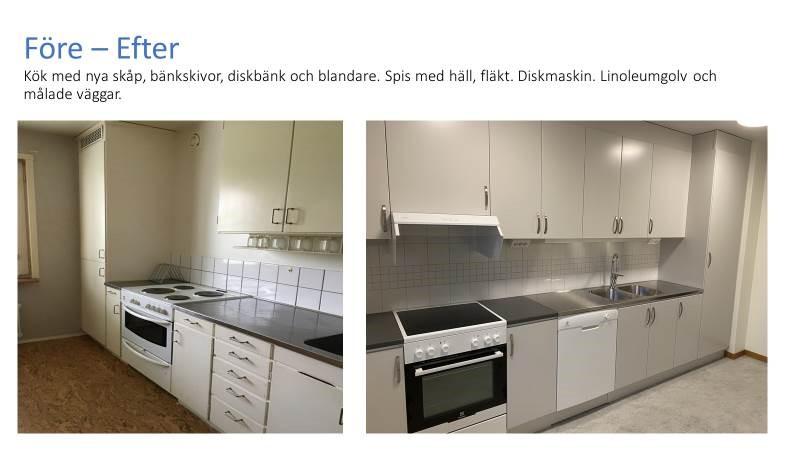 Foto på kök, före och efter renovering
