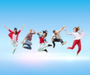 Ungdomar som hoppar
